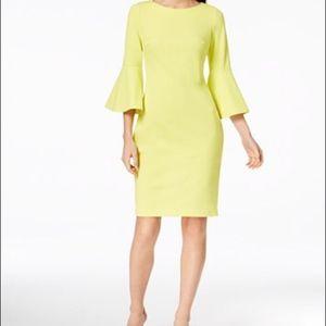 NWT Calvin Klein Citron Bell Sleeve Sheath Dress 4